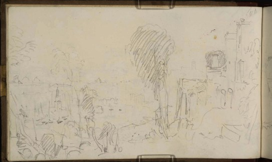 J.M.W.Turner The Porto di Ripa Grande, Rome, Looking towards the Ponte Rotto, 1819 From the Rome and Florence sketchbook, TB CXCI 5a Page size, 113 x 189 mm Photo courtesy of Tate Click on the image to enlarge To see the image in the Tate's online catalogue of the Turner Bequest, click on the following link, and press your browser's 'back' button to return to this page: http://www.tate.org.uk/art/artworks/turner-the-porto-di-ripa-grande-rome-looking-towards-the-ponte-rotto-d16493