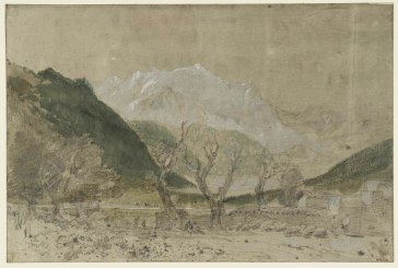 J.M.W.Turner Mont Blanc, from Sallanches, 1802 Pencil and watercolour on paper prepared with a grey wash, 320 x 376 mm From the St Gothard and Mont Blanc sketchbook, Turner Bequest LXXV 11 Tate Britain, London Photo courtesy of Tate. To see this image in the Tate's own online catalogue of the Turner Bequest click on the following link, then use your browser's 'back' button to return to this page: http://www.tate.org.uk/art/artworks/turner-mont-blanc-from-sallanches-d04603 Turner used this sketch as the basis of a finished watercolour in a private collection.