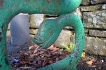 """Serpent bench at Kirkby Lonsdale Photograph by David Hill, taken 25 March 2016, 10.48 GMT """"..with a goose's head stuck on the wrong end of it.."""""""