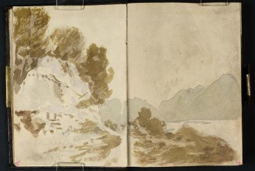 J M W Turner Ben Lomond from Colonel Lascelles's Monument near Inverbeg, 1801 Pencil on paper, 149 x 218 mm (page size, 149 x 109 mm) from the 'Tummel Bridge' sketchbook, Tate, London, D03282-83, Turner Bequest TB LVII 3a-4 as 'A Wooded Cliff beside the Old Military Road along Loch Lomond, with the Loch and Ben Lomond to the Right' Image courtesy of Tate. To see the image in the Tate's own online catalogue, click on the following link, and then use your browser's 'back' button to return to this page: http://www.tate.org.uk/art/artworks/turner-a-wooded-cliff-beside-the-old-military-road-along-loch-lomond-with-the-loch-and-ben-d03283 This may be taken as the beginning of the sequence that culminates in the sketch of Ben Arthur (LVII 7a-8). Conditions here appear to be still and atmospheric, with Ben Lomond a flat wash against the morning light. The subject is intriguing, with its carved inscription to 'Colonel Lascelles Regiment March 12th 1745'., recording their part in forging the new military road to Inverary along the shores of Loch Lomond. It is hope to develop this theme on a return visit. The Lascelles connection would have caught Turner's eye, for the Lascelles family of Harewood in Yorkshire were major patrons of his work at this time.