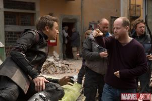 Jeremy-Renners-performance-of-Hawkeye-being-directed-by-Joss-Whedon-on-the-set-of-Marvels-Avengers-Age-of-Ultron