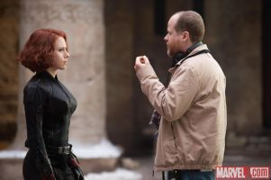Scarlett-Johansson-who-stars-as-Black-Widow-with-Director-Joss-Whedon-on-the-set-of-Marvels-Avengers-Age-of-Ultron
