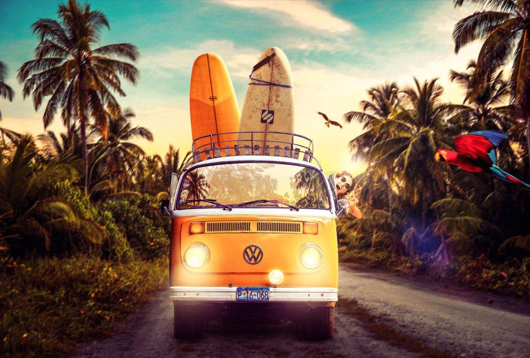 image composite d'un van en vacances