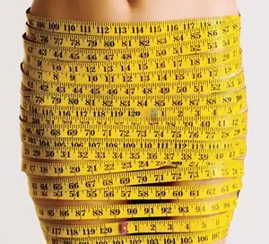 Body Image - picture of woman with tape measure skirt