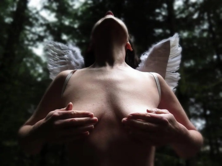Missy with angel wings in the woods