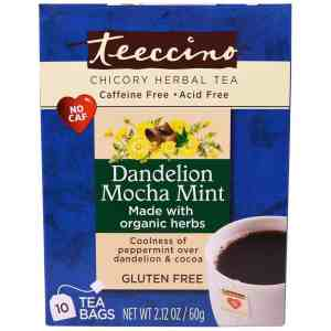 Teeccino Chicory Herbal Tea in Dandelion Coconut and Mocha Mint