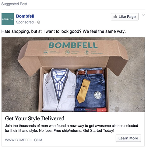 Bombfell Facebook Ad