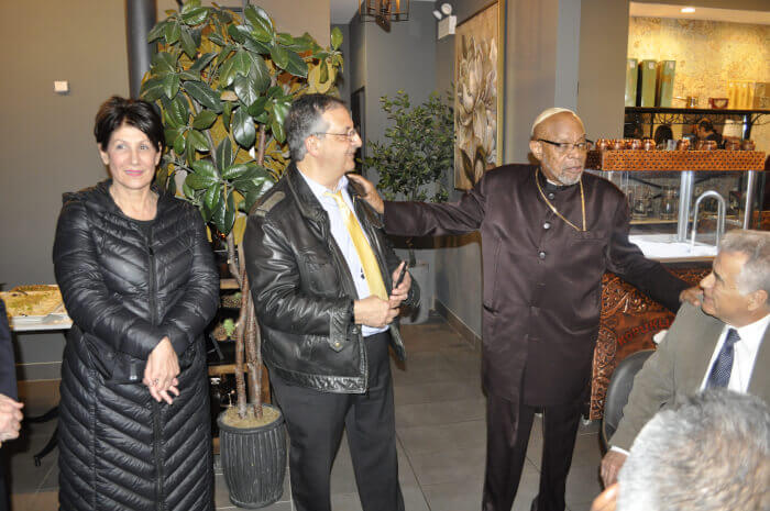 Cook County Treasurer Maria Pappas, one of the region's highest voters getters and most popular elected officials with Ray Hanania and leaders of Interfaith Illinois. Photo courtesy of Tasneem Abuzir