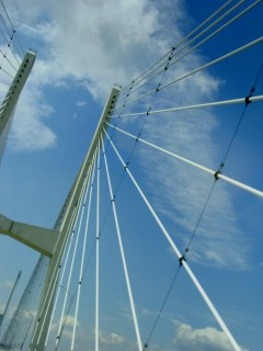 Uprights and cables of Greenville, Miss., bridge.