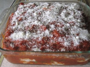 Vegetarian Matzoh Lasagna ready to bake