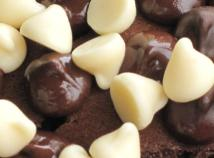 Dark and White Chocolate morsels topping - close up