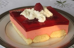 Slice of jello dessert