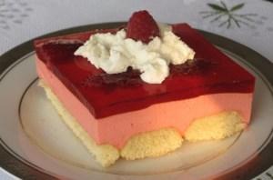 Slice of jello dessert