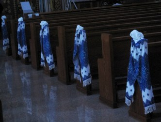 Ukrainian Embroidered runners adore the church pews