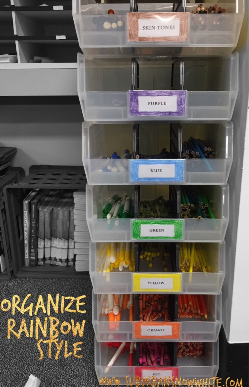 Organizing markers, crayons, and colored pencils  Nailed it
