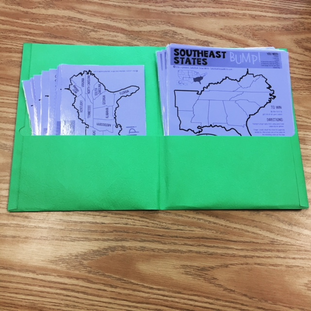 These two pocket folders help organize my classroom games.