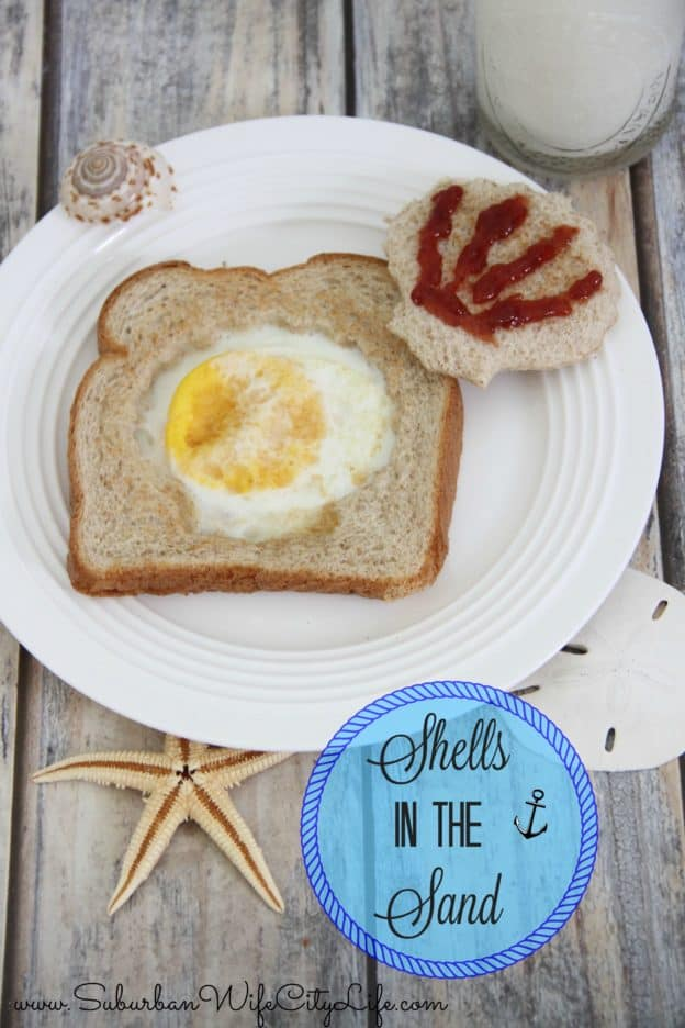 Shells in the Sand - a fun twist on eggs in a nest with Nature's Harvest Bread