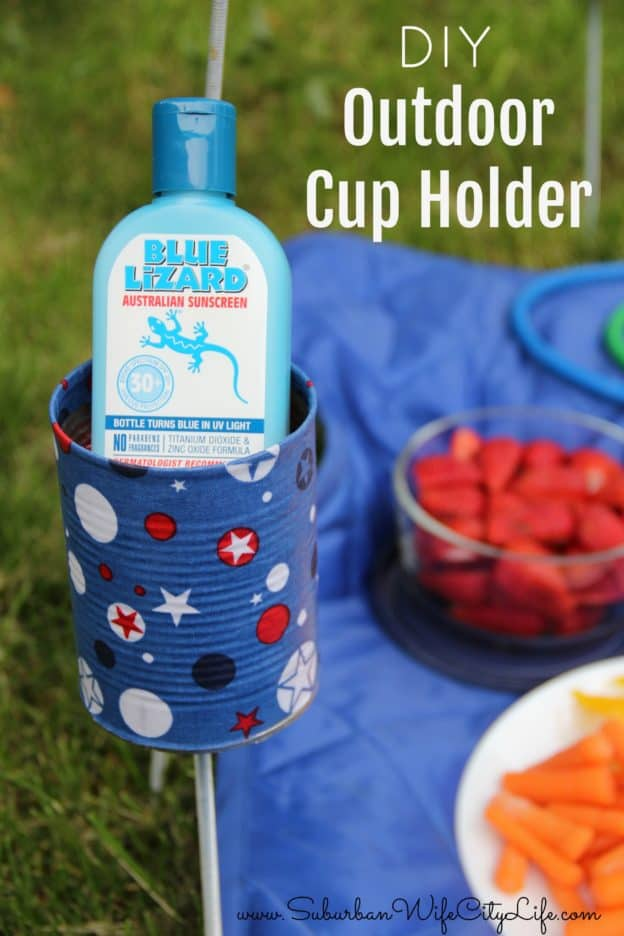 DIY Outdoor Cup Holder #BlueLizardSummer #ad