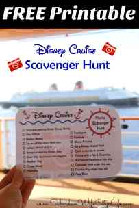 Disney Cruise Photo Scavenger Hunt Free Printable