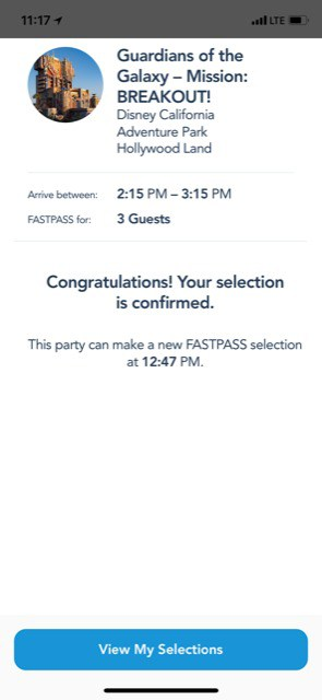 Fastpass selection confirmation Disneyland
