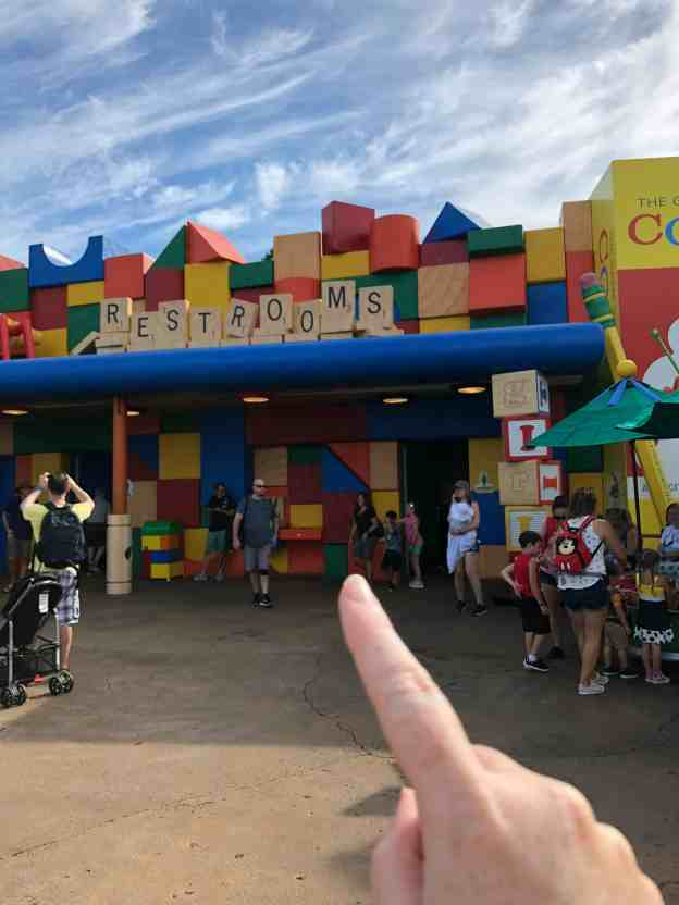 Toy Story Land Block Wall is the restroom