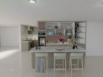 Wet Kitchen and Dry Kitchen with Island table