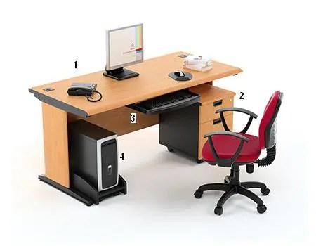 HighPoint Set Meja Kantor Five Series Cherry Workstation 1