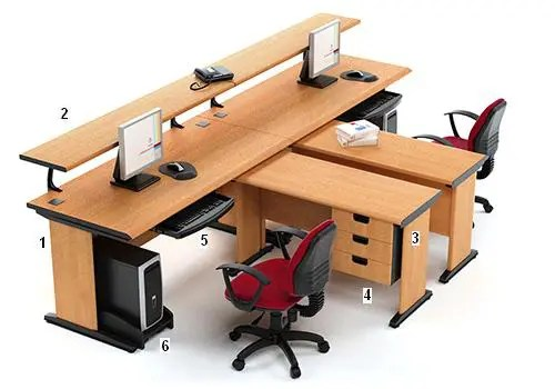HighPoint Set Meja Kantor Five Series Cherry Workstation 4