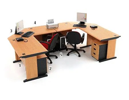 HighPoint Set Meja Kantor Five Series Cherry Workstation 5