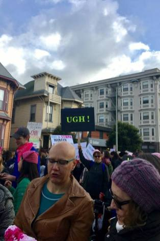Protest sign Oakland Women's March has single word: Ugh!
