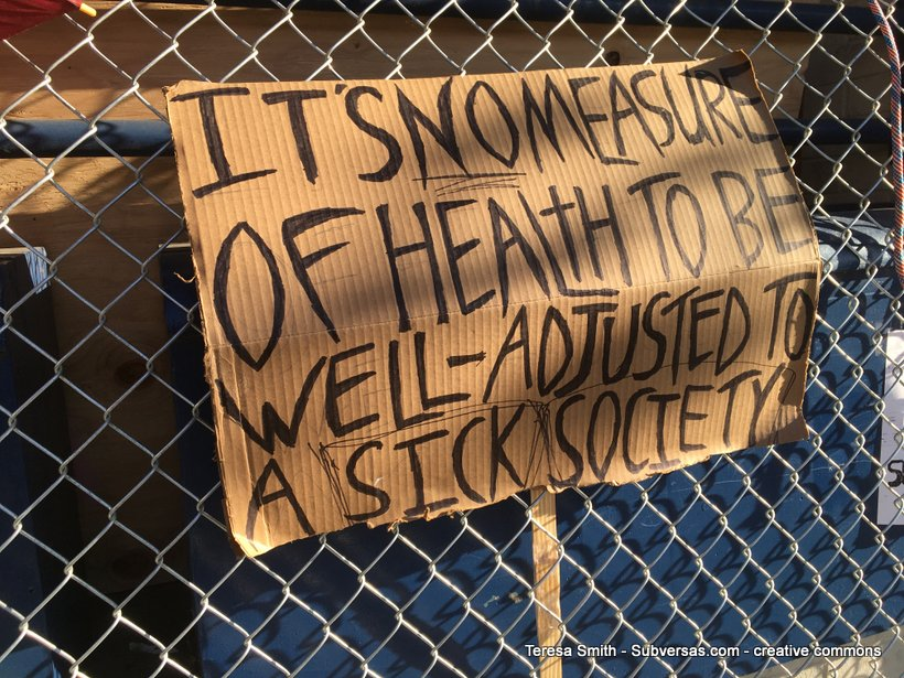 protest sign: It's no measure of health to be well-adjusted in a sick society""