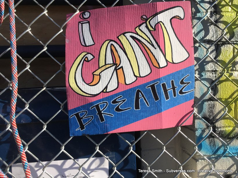 "Pretty painted protest sign: ""I can't breathe."""