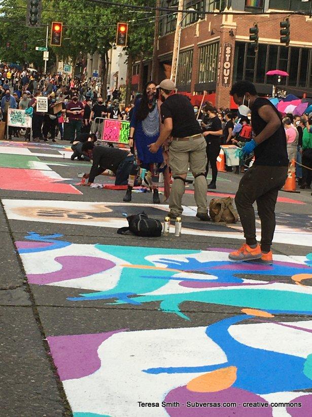muralists making BLM mural