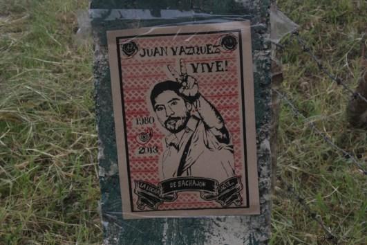 ¡Juan Vázquez vive, la lucha de Bachajón sigue! Fotografía: Colectivo Cero