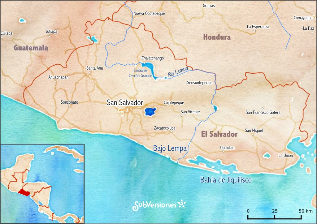 Mapa de El Salvador, resalta ubicación de la región del Bajo Lempa y la Bahía de Jiquilisco. Fondo: Stamen Water Color de Open Street Maps. Elaboración: Jerónimo Díaz