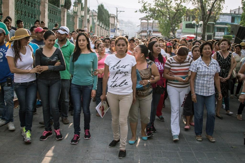 Familiares de desaparecidos encabezan la manifestación. Fotografía: Heriberto Paredes