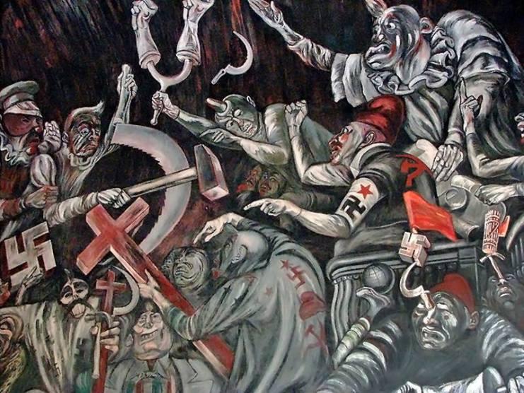 El Circo Político. Fragmento del mural de Clemente Orozco en palacio de gobierno de Jalisco. 1936-1938.