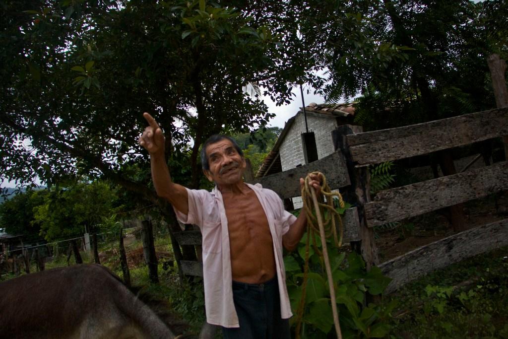 Cristóbal habitante del pueblo camina con su burro dirección a su casa; las arrugas de sus ojos y los músculos ceñidos a su pecho son testimonio de su digno comer y vivir. Fotografía: Marlene Mondragón