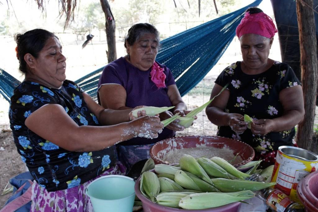 Mujeres binni'za en la barricada de la Séptima Sección, marzo 2013. Fotografía: Valentina Valle