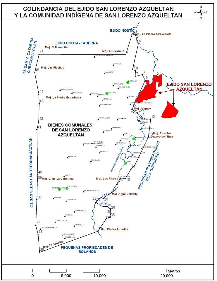 Territorio de la comunidad de San Lorenzo de Azqueltán y colindancias. Elaboración: Comuneros de Azqueltán