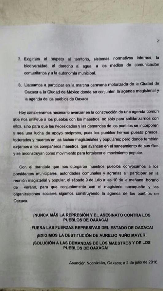 Pronunciamiento del 2ndo encuentro de autoridades municipales y agrarias de Oaxaca