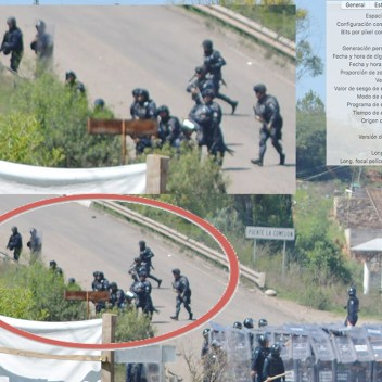 [Foto 5] 11:24:04 a.m. Se ve al policía estatal de Oaxaca, José Luis Lazo Sánchez empuñando un arma larga, a unos cuantos metros de el, en la parte baja, se ve a elementos de la gendarmería corriendo y posicionándose para disparar.