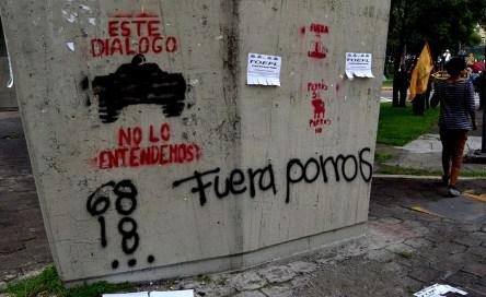 Las pintas de paredes surgen como forma de manifestarse / Aurea Itandehui Ramírez Ante las situación de agresión contra los estudiantes se hizo una similitud sobre los hechos ocurridos en 1968. La historia se repite 50 años después.