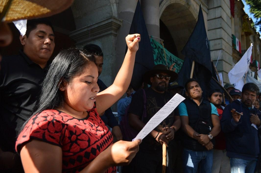 1 Octubre 2018. Conferencia de prensa de la Unión de Comerciantes Oaxaqueños en Lucha (UACOL). Fotografía: José Luis Santillán