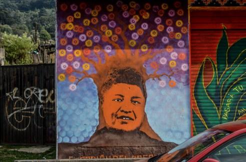 """01.- Mural con el rostro de David Ruiz García un joven defensor del territorio en la comunidad indígena Otomí de San Francisco Xochicuautla. Falleció difundiendo la lucha de su pueblo contra la autopista Toluca-Naucalpan y el EZLN convoco a la COMPARTICIÓN ENTRE CONGRESO NACIONAL INDÍGENA Y PUEBLOS ZAPATISTAS """"COMPAÑERO DAVID RUIZ GARCÍA"""" En Agosto del 2014. Fotografía: José Luis Santillán, tomada en Octubre del 2015."""