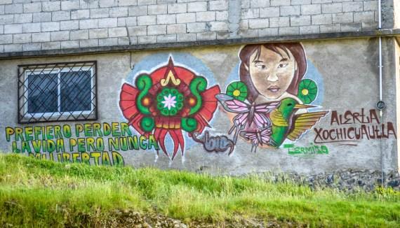 02.- Los murales han caracterizado la resistencia de la comunidad indígena Otomí de San Francisco Xochicuautla en contra de la imposición del proyecto de la autopista Toluca-Naucalpan. Fotografía: José Luis Santillán, tomada en Octubre del 2015.