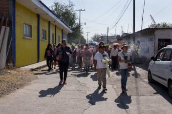 A un año del asesinato de Samir, durante la marcha del 20 de febrero de 2020 en Amilcingo, Morelos. Foto por Regina López.