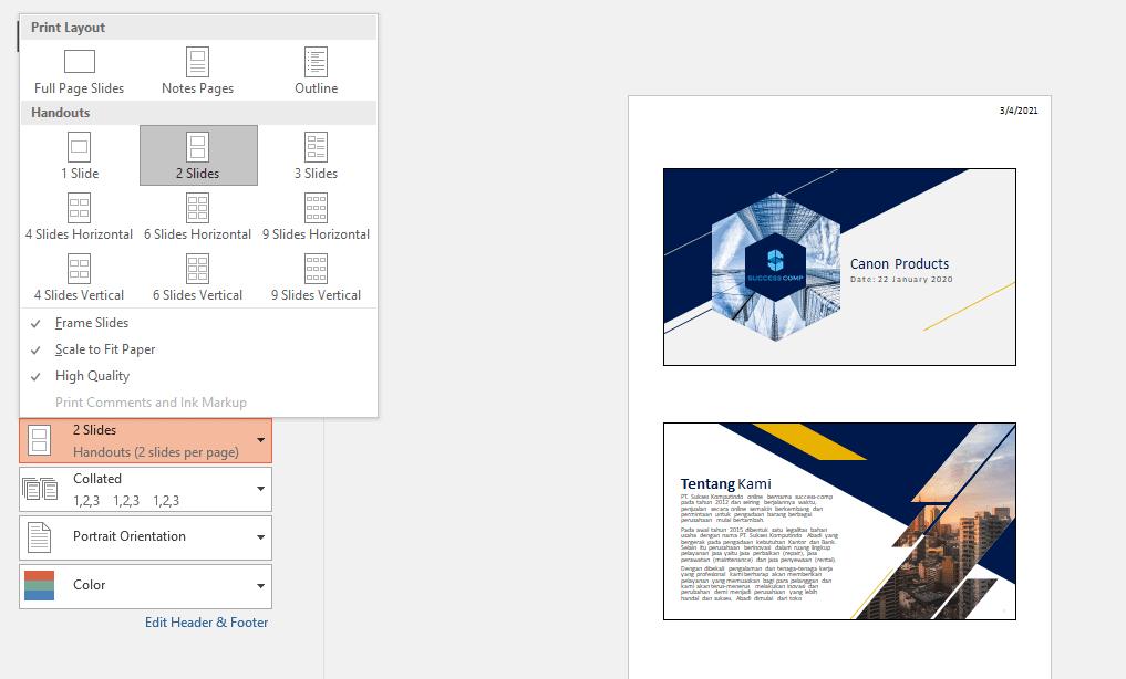 Cara ngeprint Powerpoint 4 Slide
