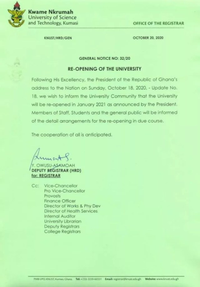 KNUST: Arrangement for reopening of the University for the 2020/2021 academic year will be communicated soon - Management
