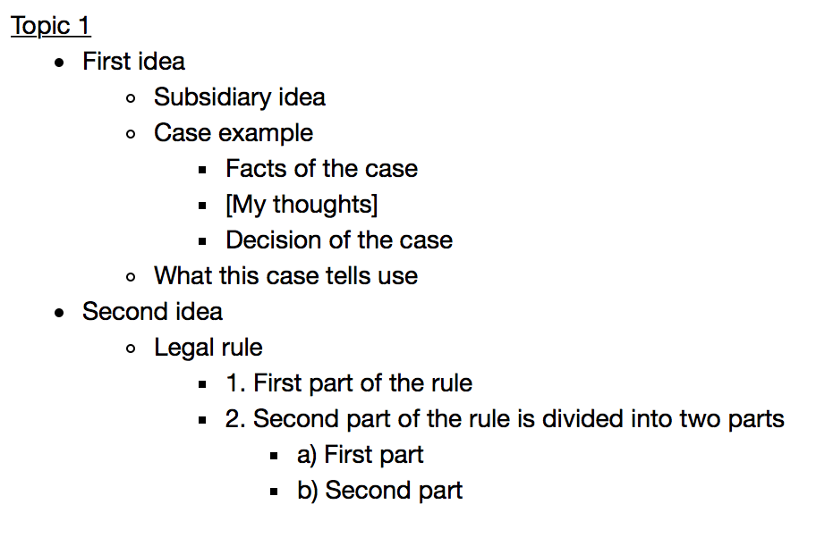An example of outline-style notes